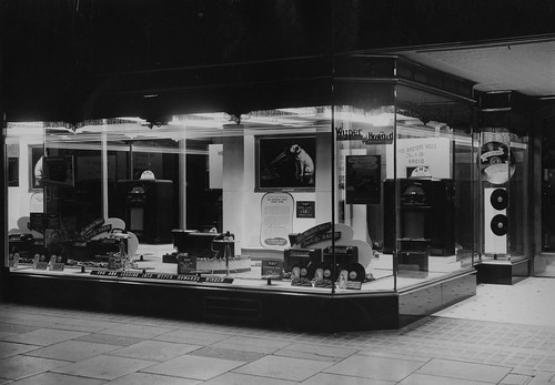 hmv goods on display in Australia - Wyper Howard store window - possibly Perth - 1940s