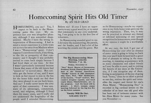 Homecoming Spirit Hits Old Timer 1927 | by uwdigitalcollections