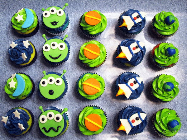 Outer Space Cupcakes Vanilla Rainbow Cupcakes With