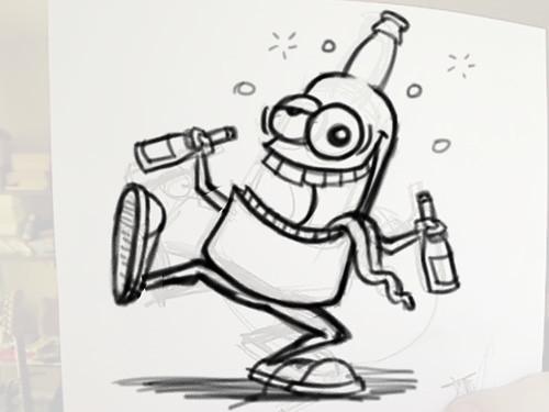 drunk beer bottle cartoon character sketch for a cartoon c flickr