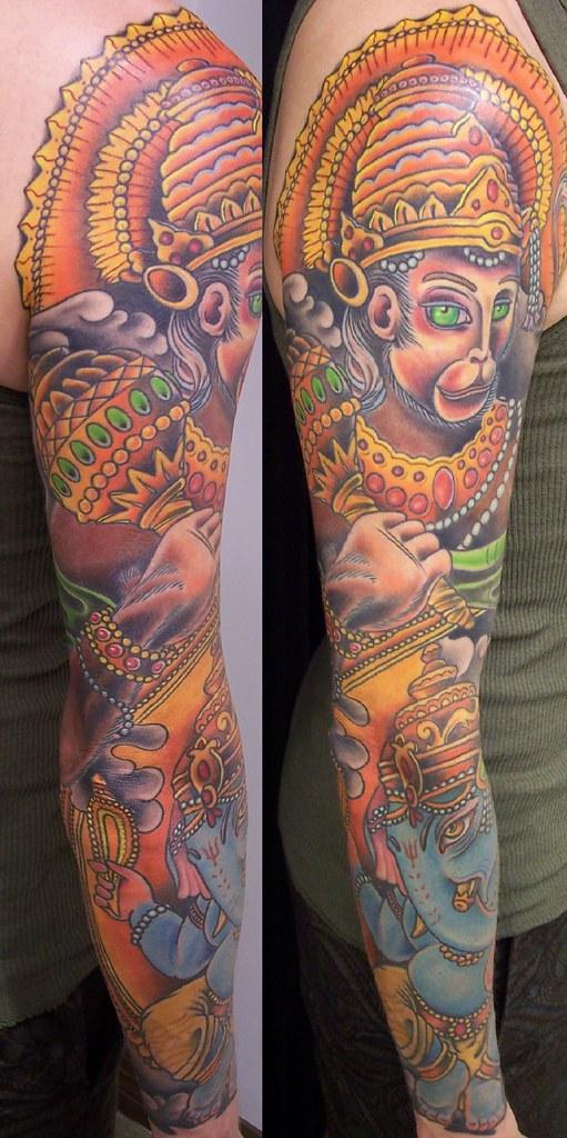 Hanuman Sleeve Tattoo lord hanuman and ganes...