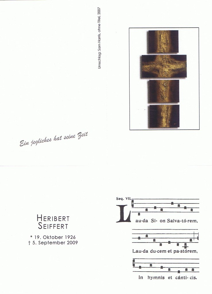 Totenzettel Seiffert, Heribert † 05.09.2009