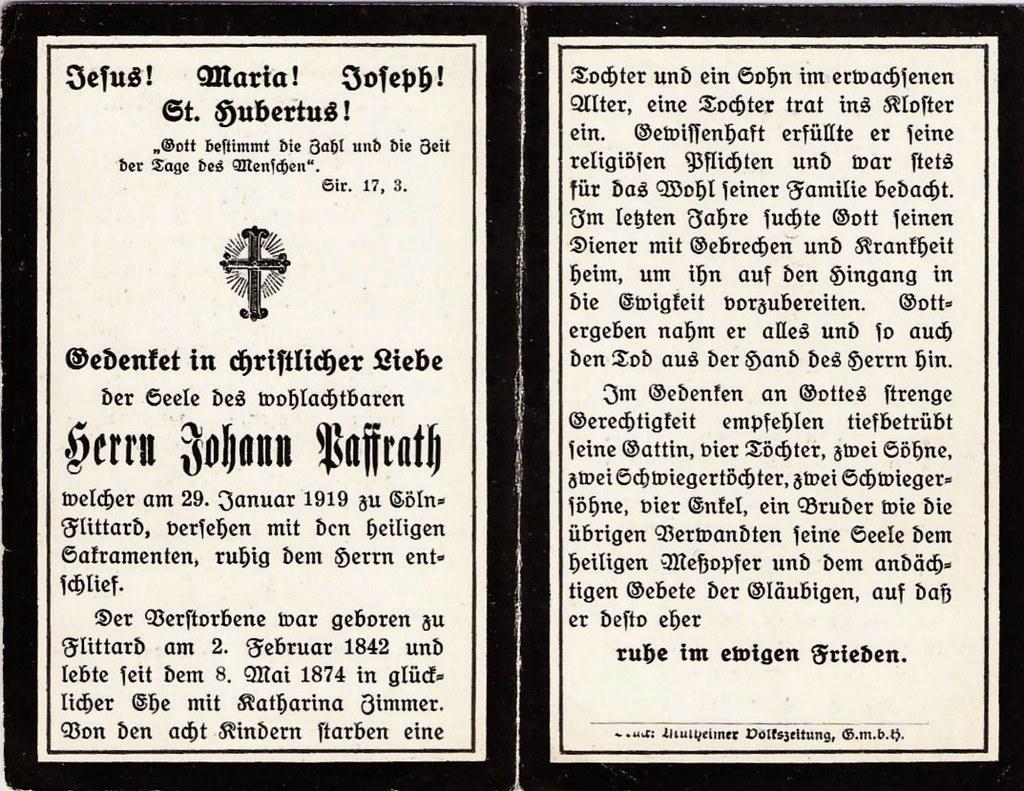 Totenzettel Paffrath, Johann geb. 1842 † 29.01.1919