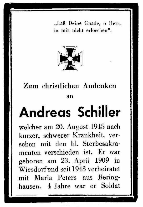 Totenzettel Schiller, Andreas I † 20.08.1945