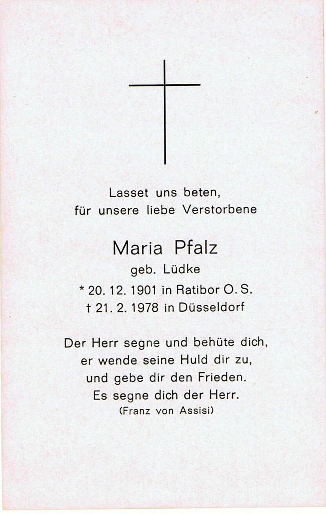 Totenzettel Pfalz, Maria geb. Lüdke † 21.02.1978