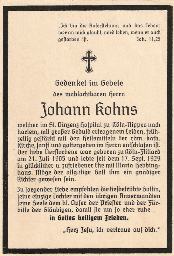 Totenzettel Kohns, Johann geboren 21.07.1905