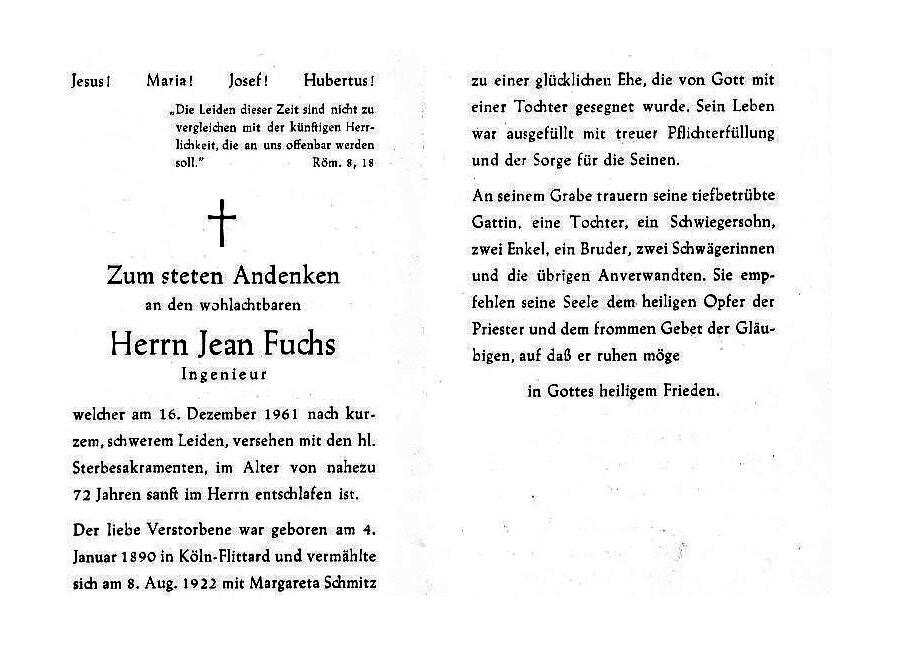Totenzettel Fuchs, Jean † 16.12.1961