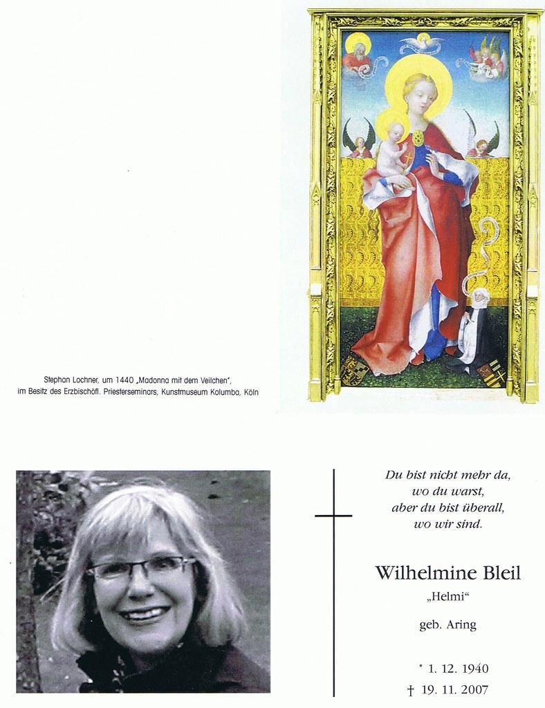 Totenzettel Bleil, Wilhelmine † 19.11.2007
