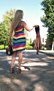 chevron striped dress+clogs | by ...love Maegan