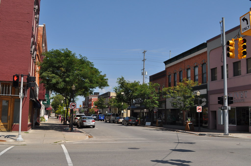 Shopping District In Downtown Alpena Michigan The