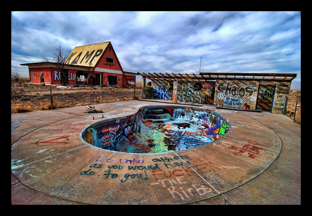 Abandoned barns and swimming pools in the ghost