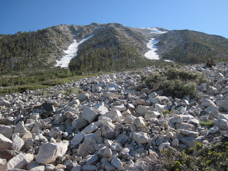 We came down the chute on the left, and had to walk over this loose and annoying talus field.
