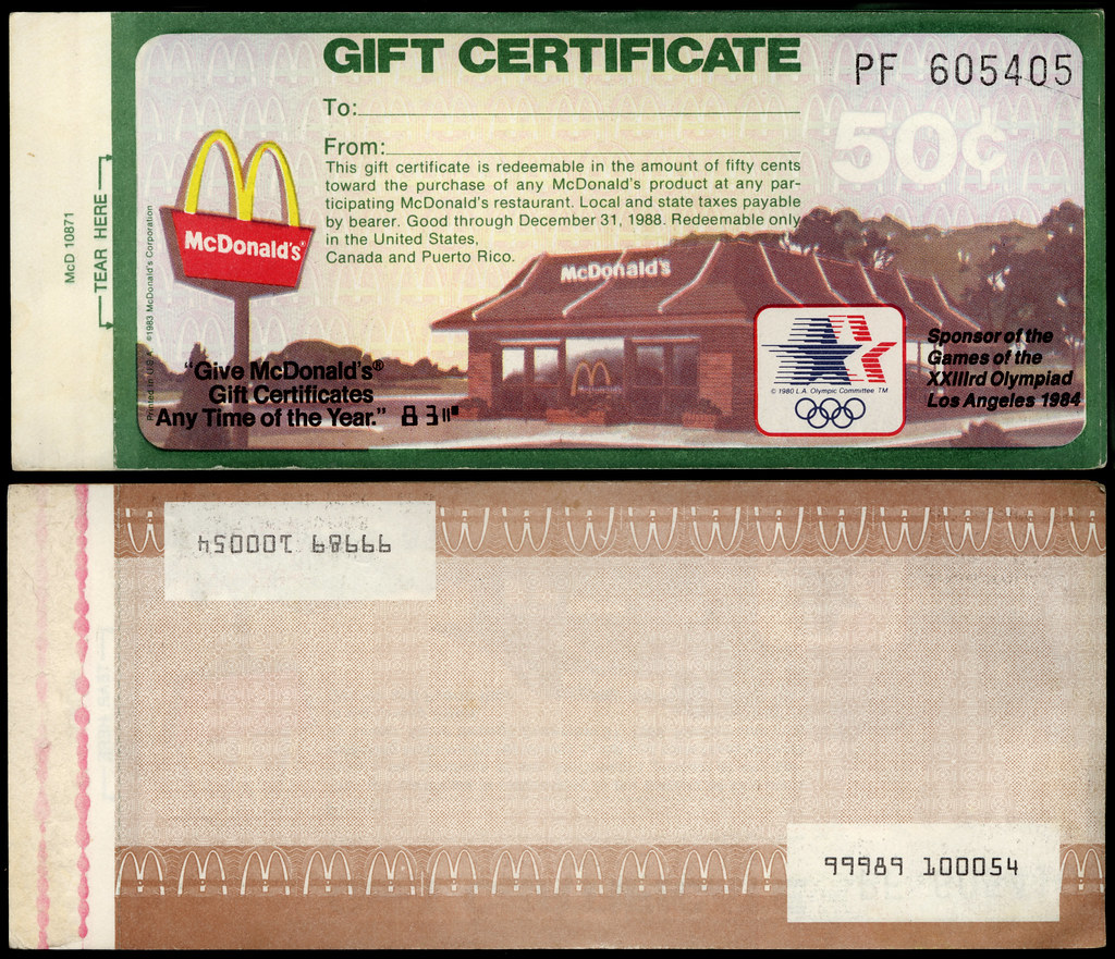 Mcdonalds mcdonalds gift certificate 1983 coming fro flickr mcdonalds mcdonalds gift certificate 1983 by jasonliebig 1betcityfo Gallery