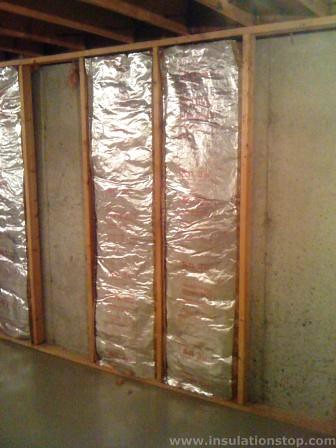 Foil faced fiberglass insulation this home s basement is R value of fiberglass batt insulation