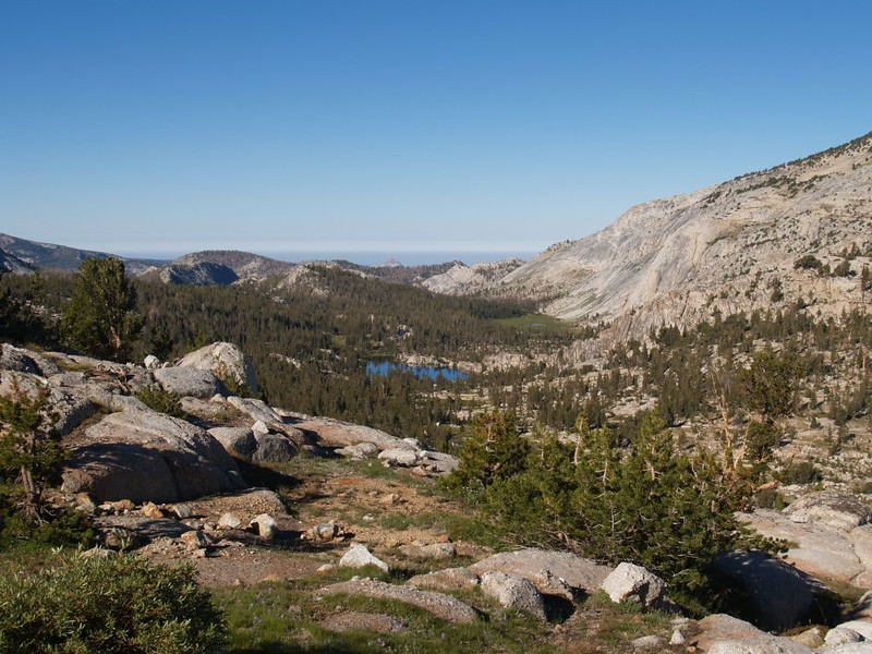 Boothe Lake and Tuolumne Pass down below from the place just off-trail where we stashed our big packs