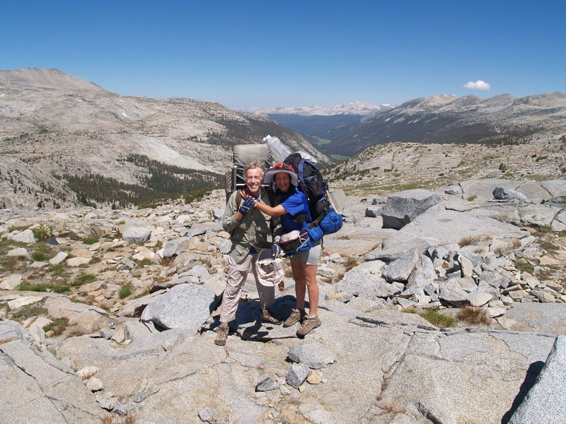 Vicki and I pose for a photo on the Yosemite side of Donohue Pass looking out over Lyell Canyon