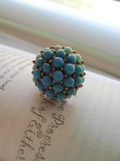 Turquoise blue and aqua vintage beaded cocktail ring | by MySoCalledVintage