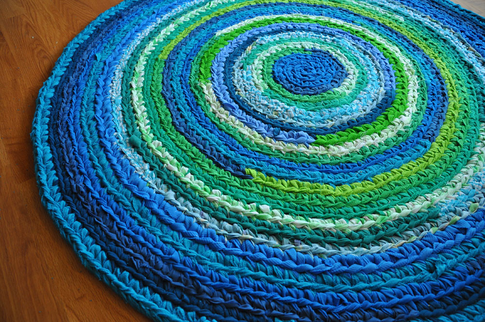 ... Recyclingartistemily Blue Green Crochet Rug | By Recyclingartistemily