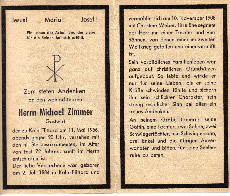 Totenzettel Zimmer, Michael † 11.05.1956