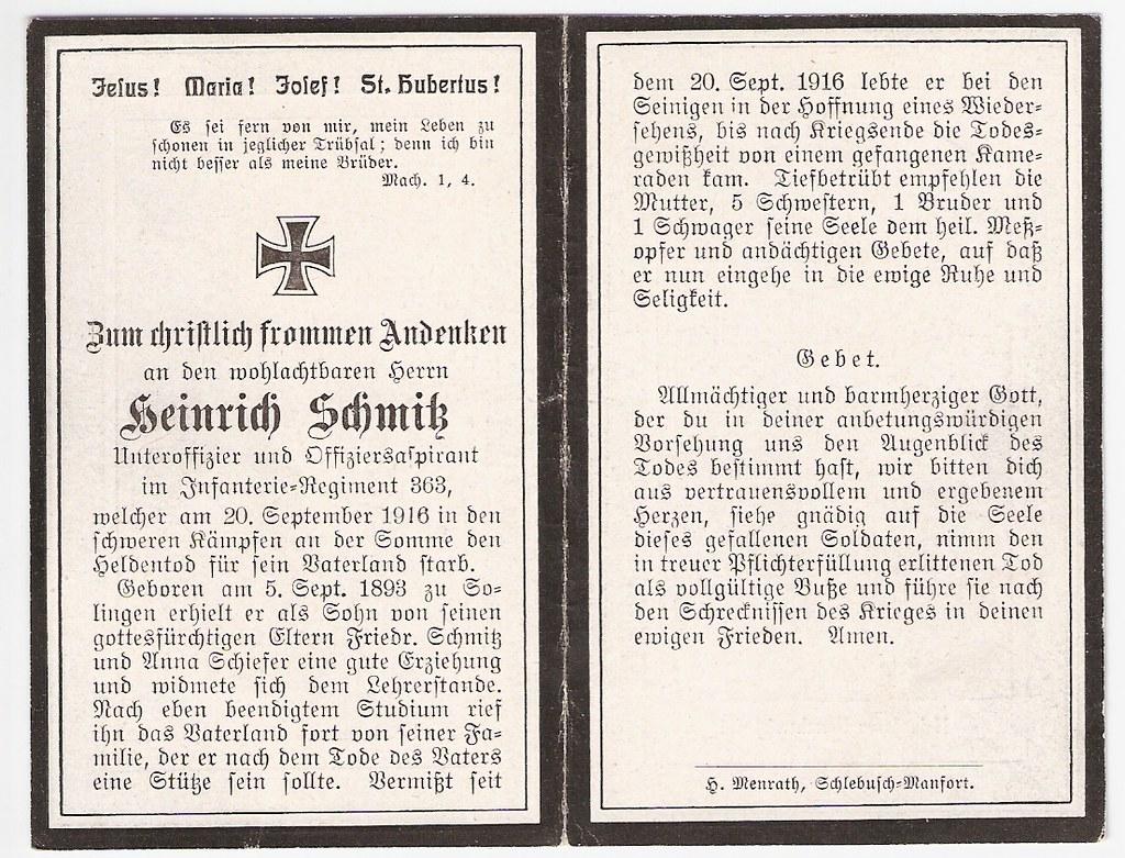 Totenzettel Schmitz, Heinrich geb. 1893 † 20.09.1916