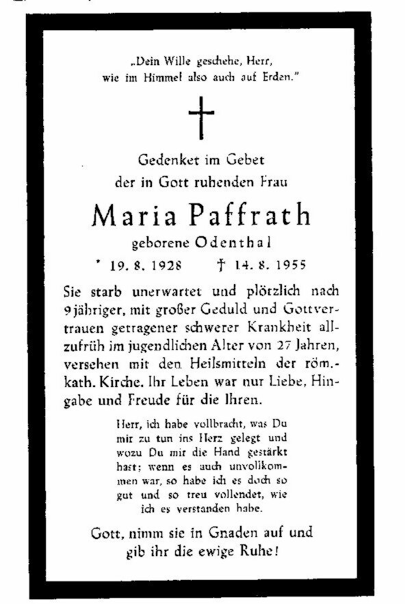 Totenzettel Odenthal, Maria † 14.08.1955
