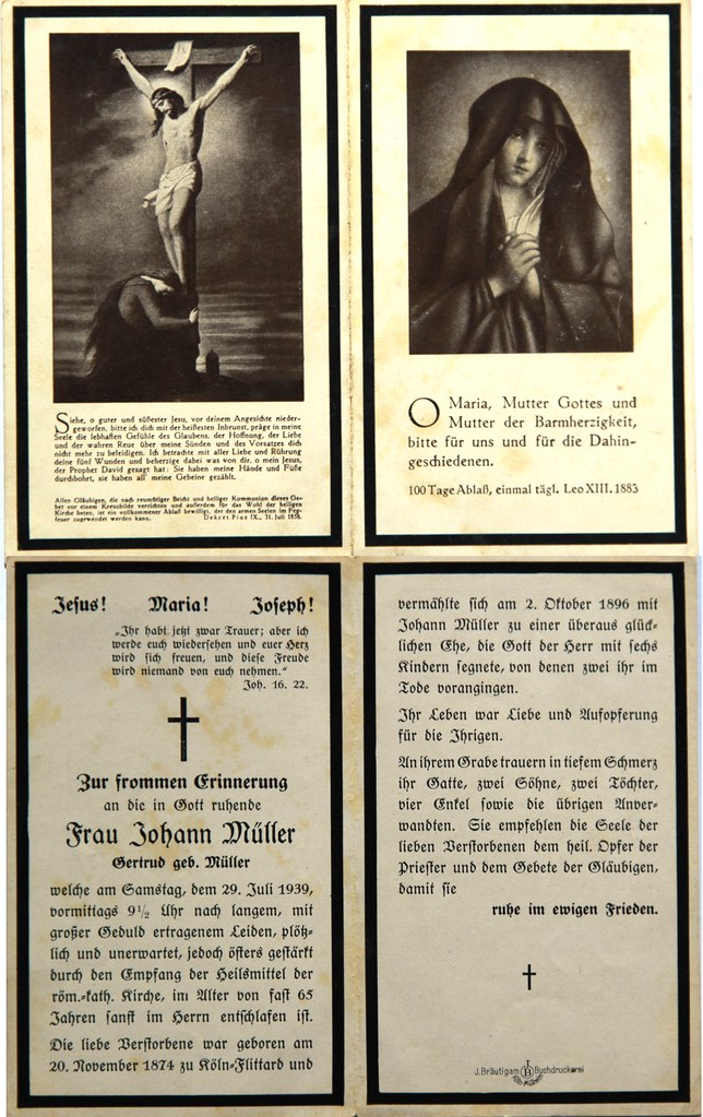 Totenzettel Müller, Gertrud † 29.07.1939