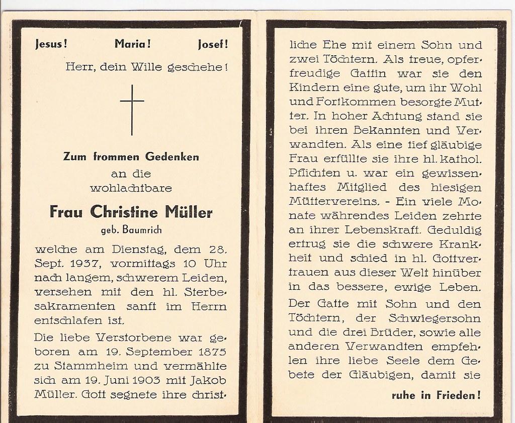 Totenzettel Müller, Christine geb. Baumerich † 28.09.1937
