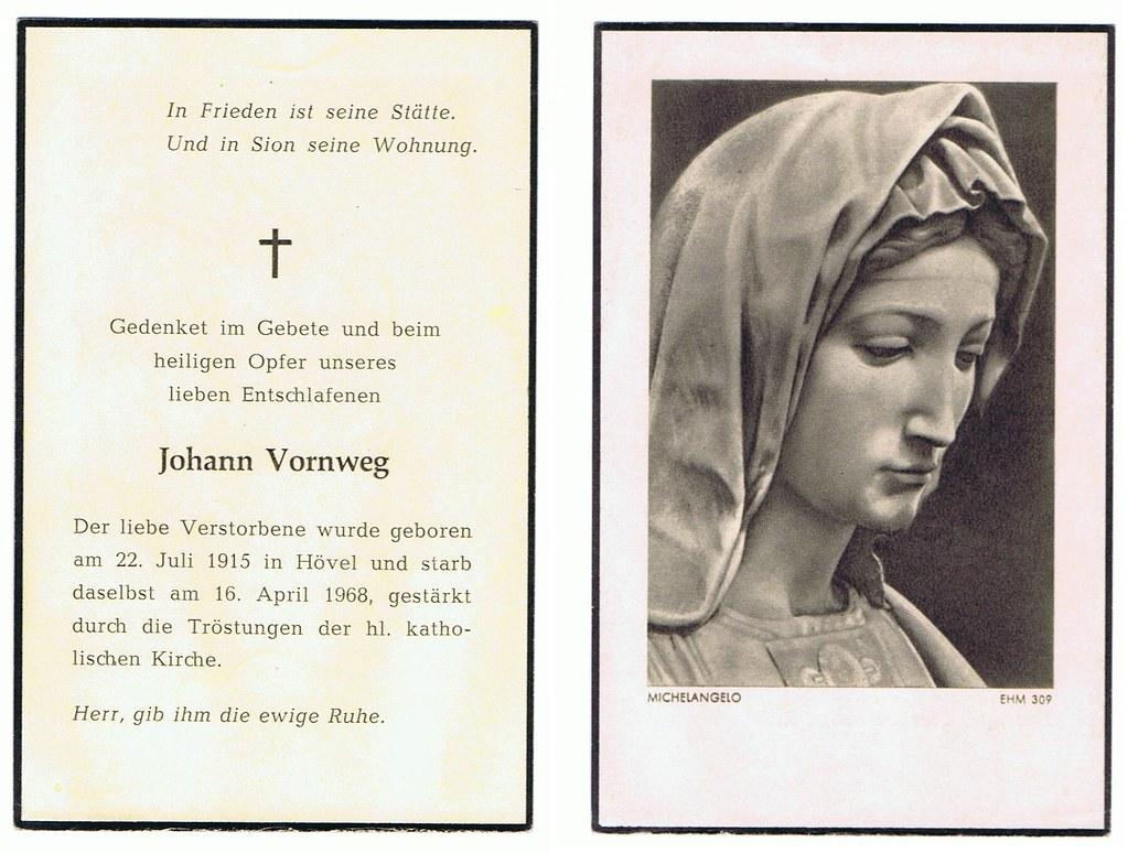 Totenzettel Vornweg, Johann † 16.04.1968