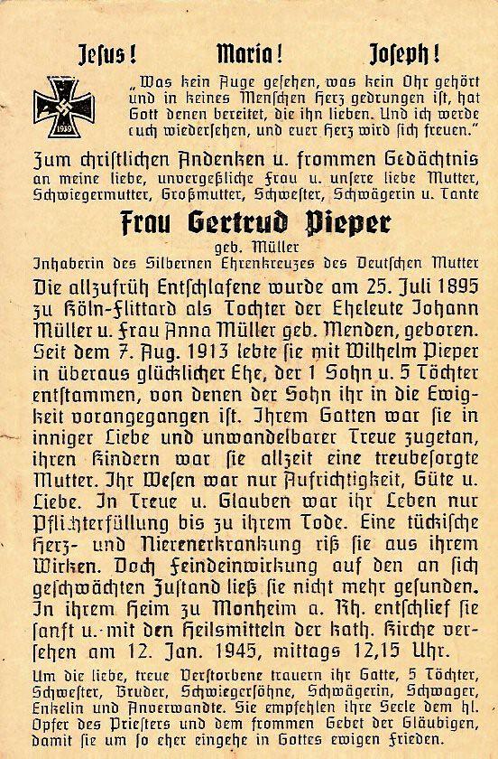Totenzettel Pieper, Gertrud geb. Müller † 12.01.1945