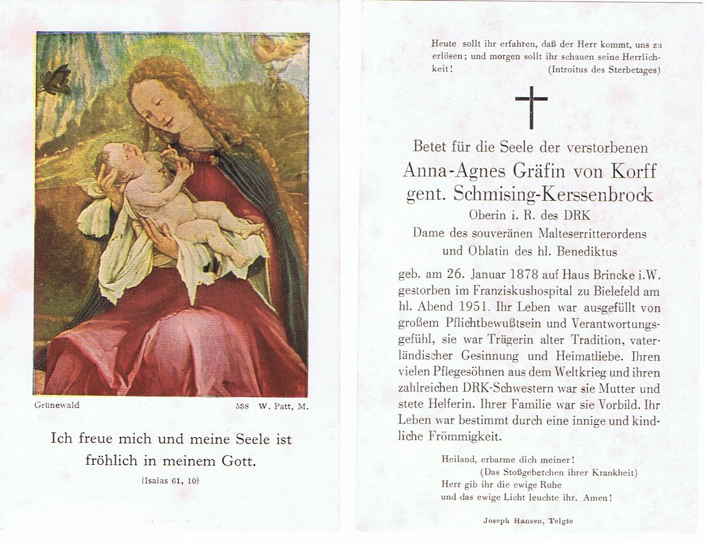 Totenzettel Korf, genannt Schmisung Kerssenbrock Anna Agnes Gräfin von † 24.12.1951