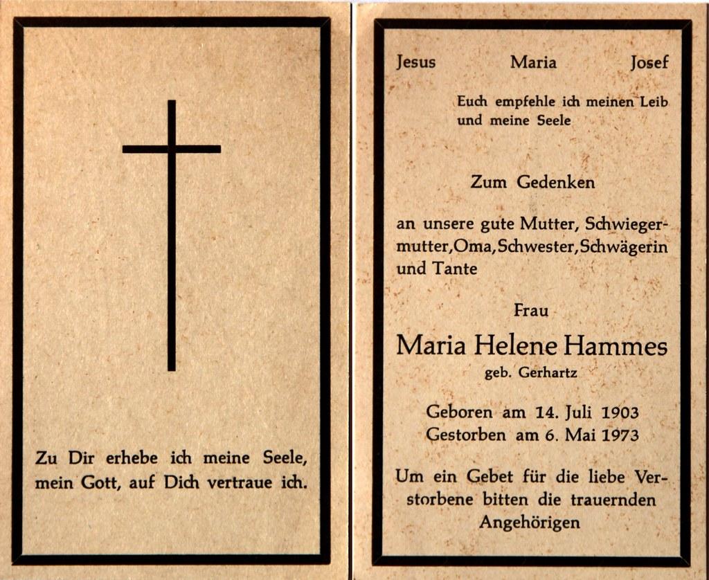 Totenzettel Hammes, Maria Helena † 06.05.1973