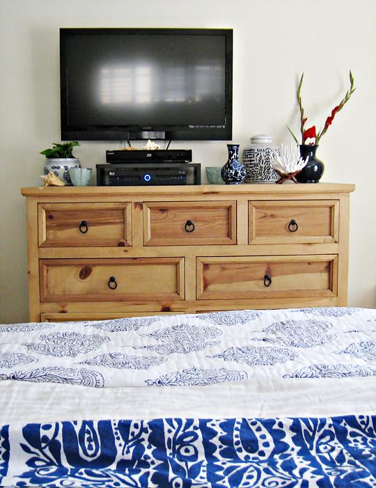 Blue Floral Bedding Tan