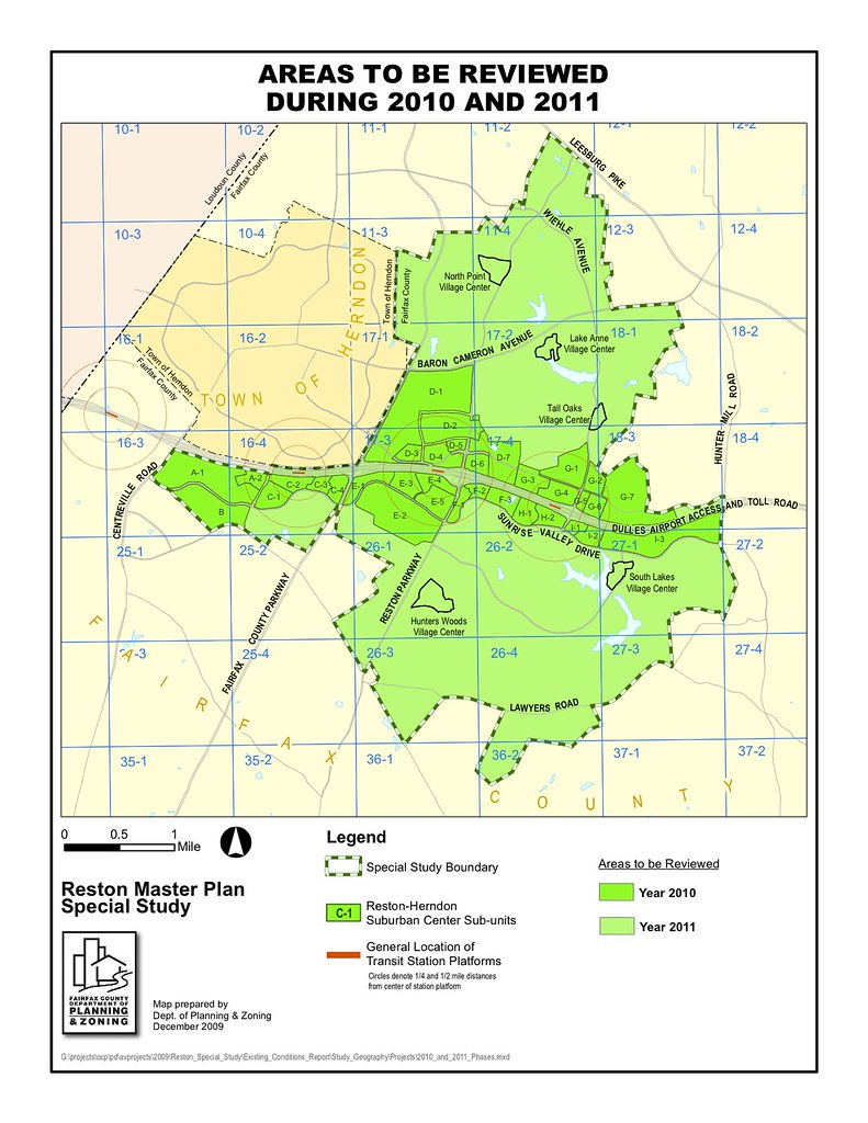 Map of Reston Areas To Be Reviewed During 2010 and 2011 Flickr