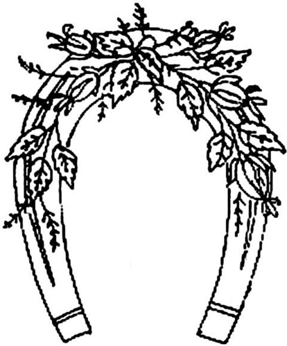 1886 Ingalls Horseshoe w Flowers   This came from embroideri ...
