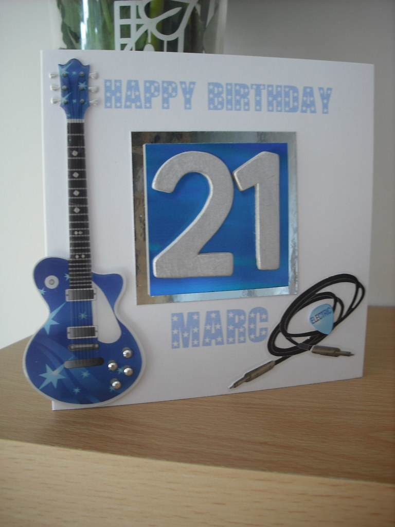 Male 21st Birthday Card With 3d Guitar Amp Numbers