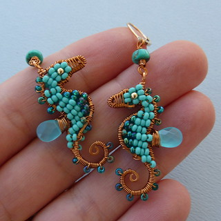 Tiny Turquoise Seahorse Earrings | by pippijewelry