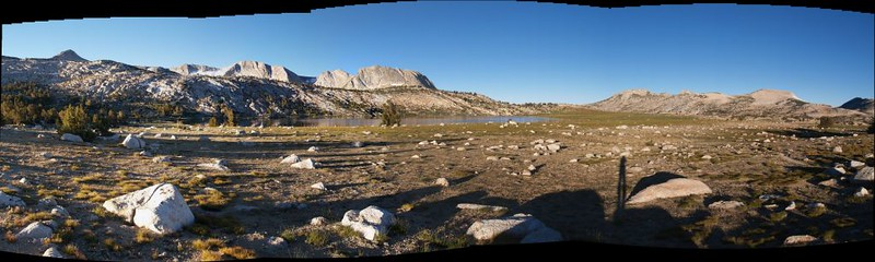 Panorama view of the plateau area around Evelyn Lake