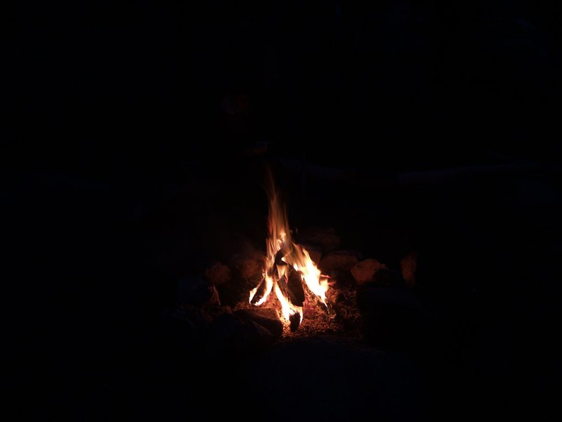 We sat around the campfire into the evening until the flames burned low.