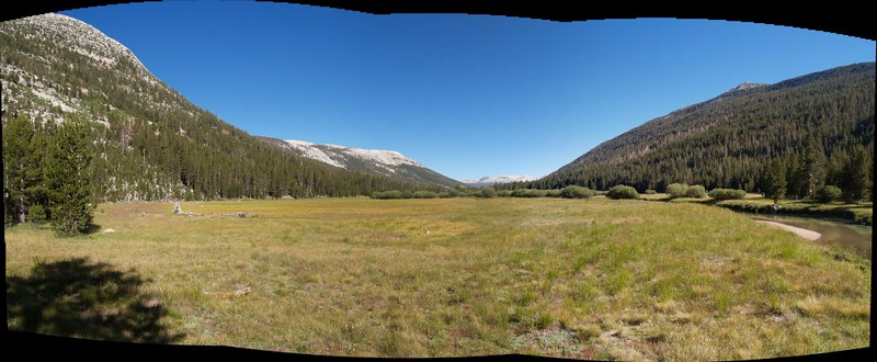 Stitched panorama of another huge meadow in Lyell Canyon