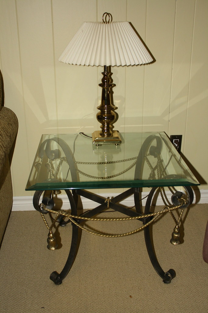 deboers glass wrought iron end table x 2 coffee table flickr. Black Bedroom Furniture Sets. Home Design Ideas