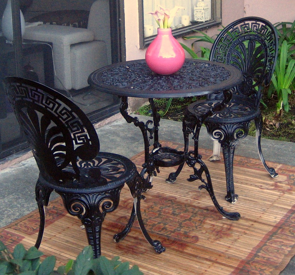 Wrought Iron Bistro Set (table and 2 chairs) For Sale ...