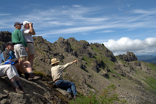 Jim Pointing Out Cascade Peaks | by Cascadian Farm