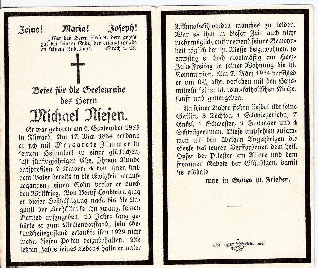 Totenzettel Niesen, Michael † 07.03.1934