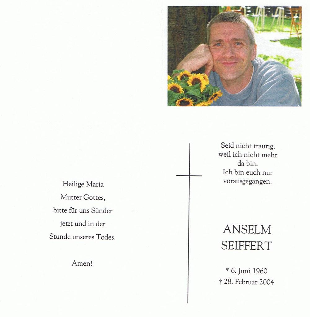 Totenzettel Seiffert, Anselm † 28.02.2004