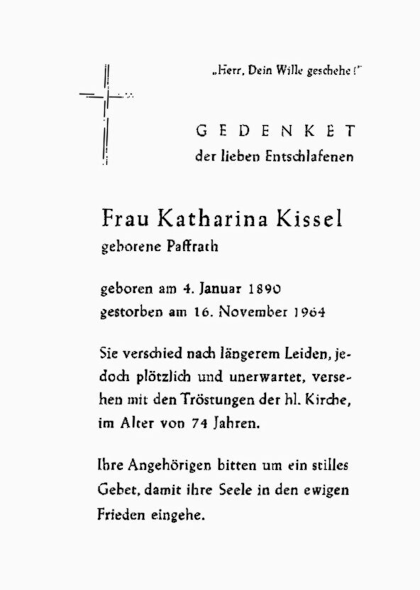 Totenzettel Paffrath, Katharina † 16.11.1964