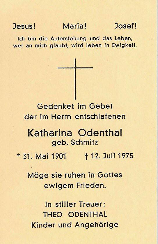 Totenzettel Odenthal, Katharina geb. Schmitz † 12.07.1975