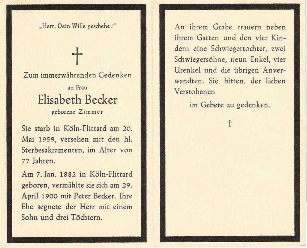 Totenzettel Zimmer, Elisabeth † 20.05.1959