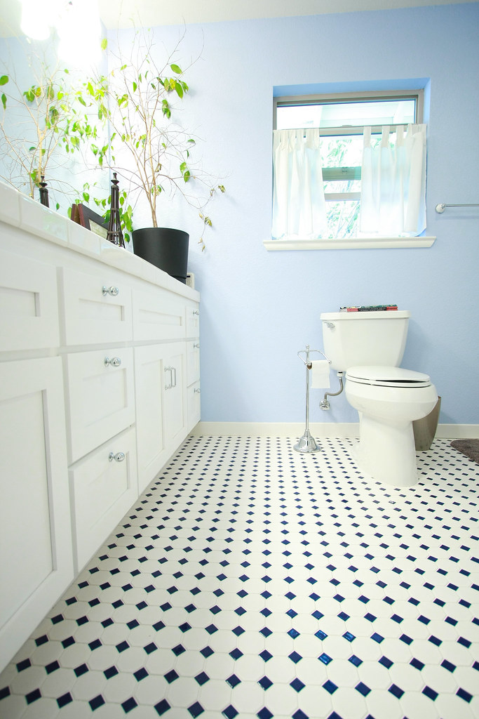 A bathroom renovation white checkered linoleum toilet countertop, plant, and baby blue wall and window