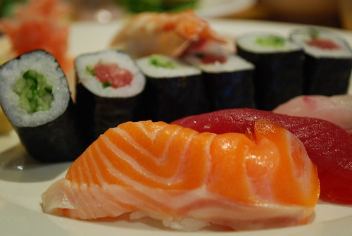 Salmon nigiri sushi - Shira Nui AUD18 special lunch set | by avlxyz