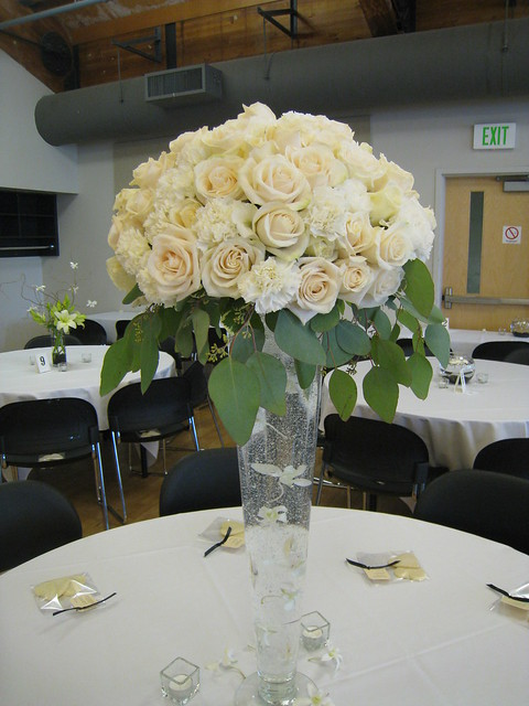 Tall rose centerpiece quot glass vase with a large dom